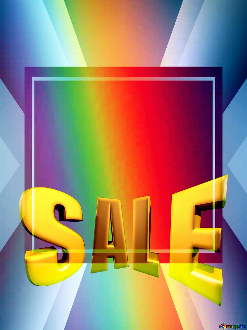 Background rainbow Sales promotion 3d Gold letters sale background Template №43242