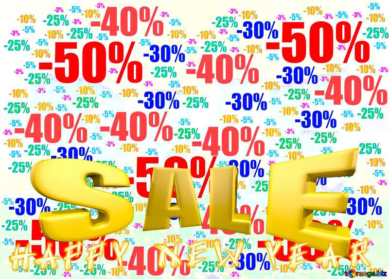 Sales promotion 3d Gold letters sale Happy New Year Winter Background №51545