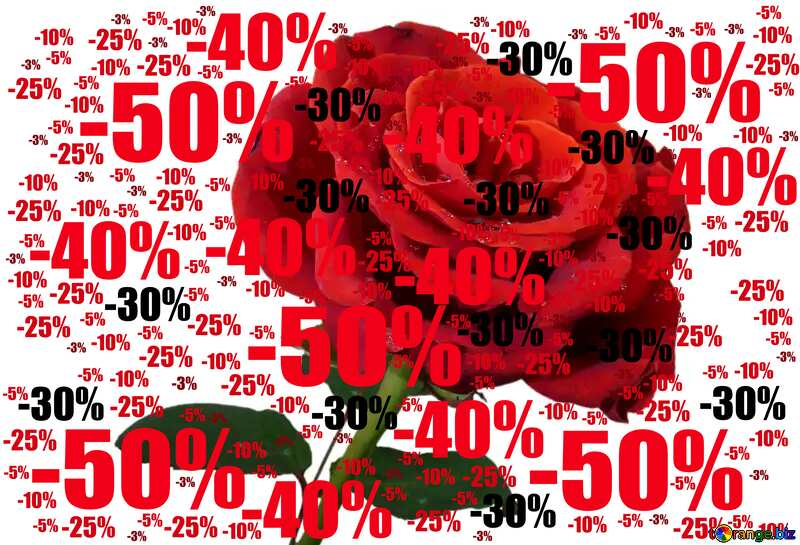 Rose background with drops Sale offer discount template №17091