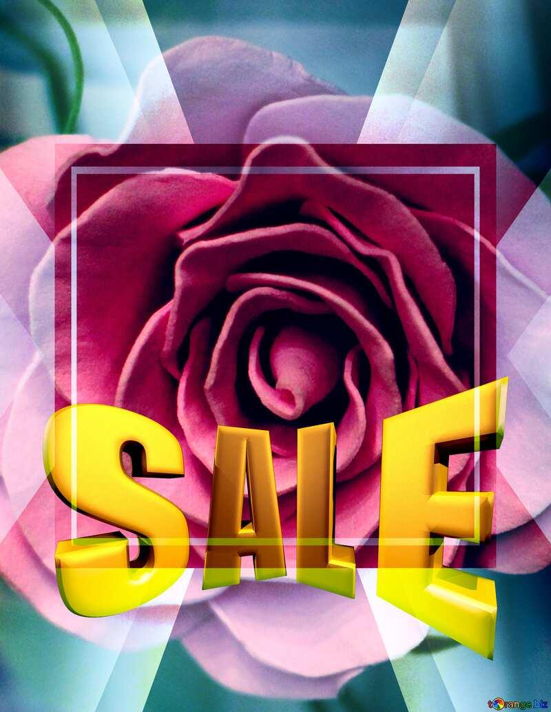Sales promotion 3d Gold letters sale background Rose Flower Template Frame №48638