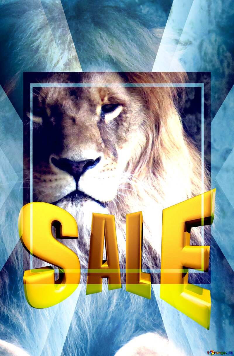 A lion Sales promotion 3d Gold letters sale background Responsive Template №44974