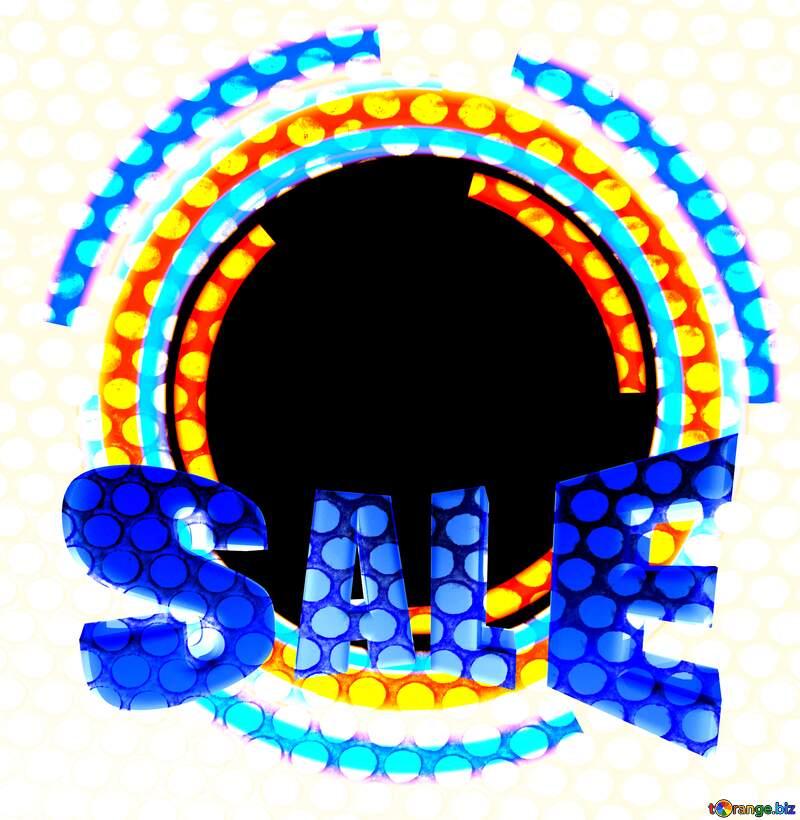 Infographics circle frame Sales promotion 3d Gold letters sale background Blue Frame №49680