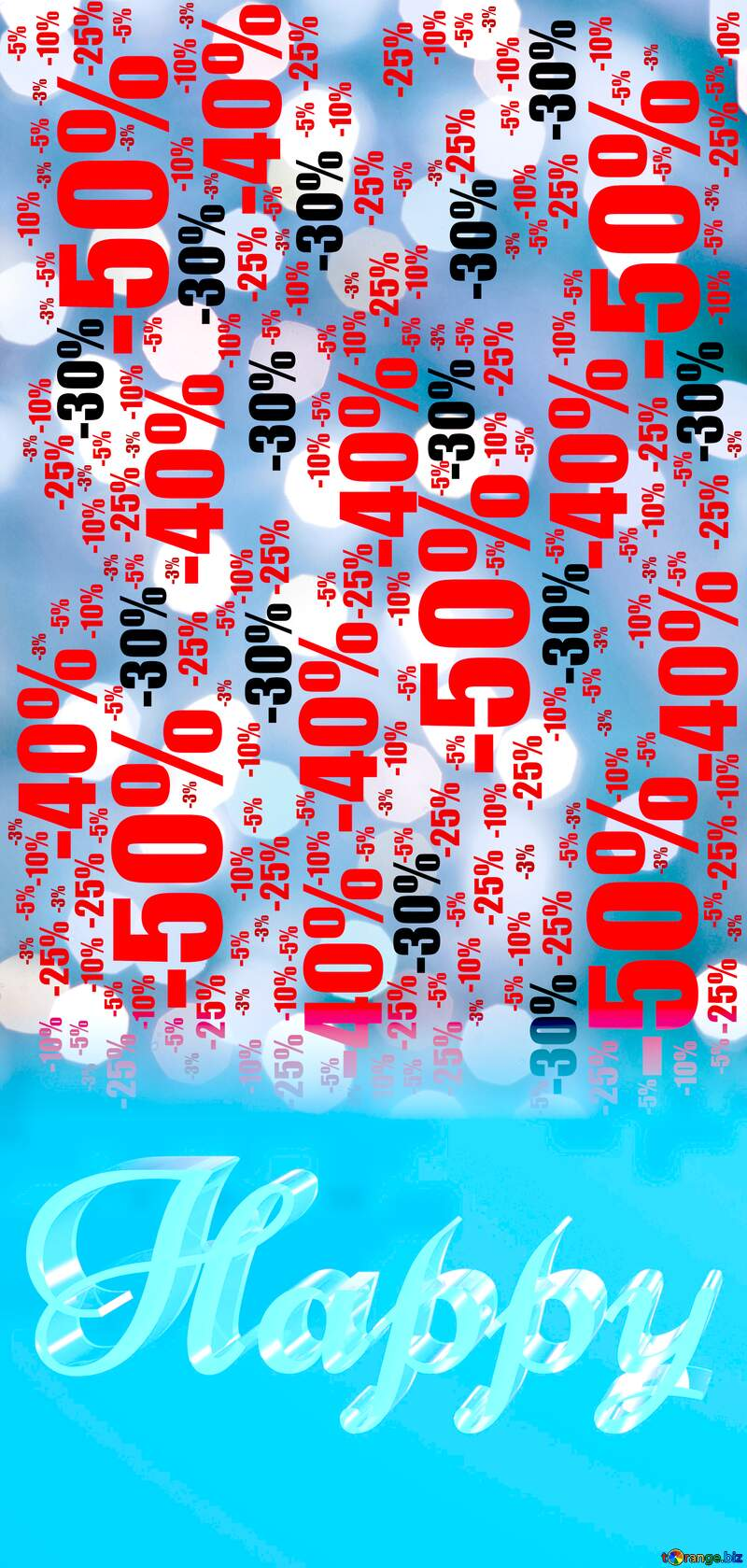 Happy glass blue background Lighten Christmas Sale offer discount template №24617