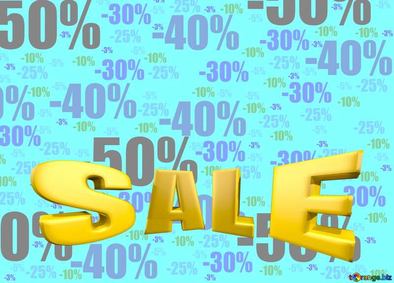 Sales promotion 3d Gold letters sale Template blue №51545