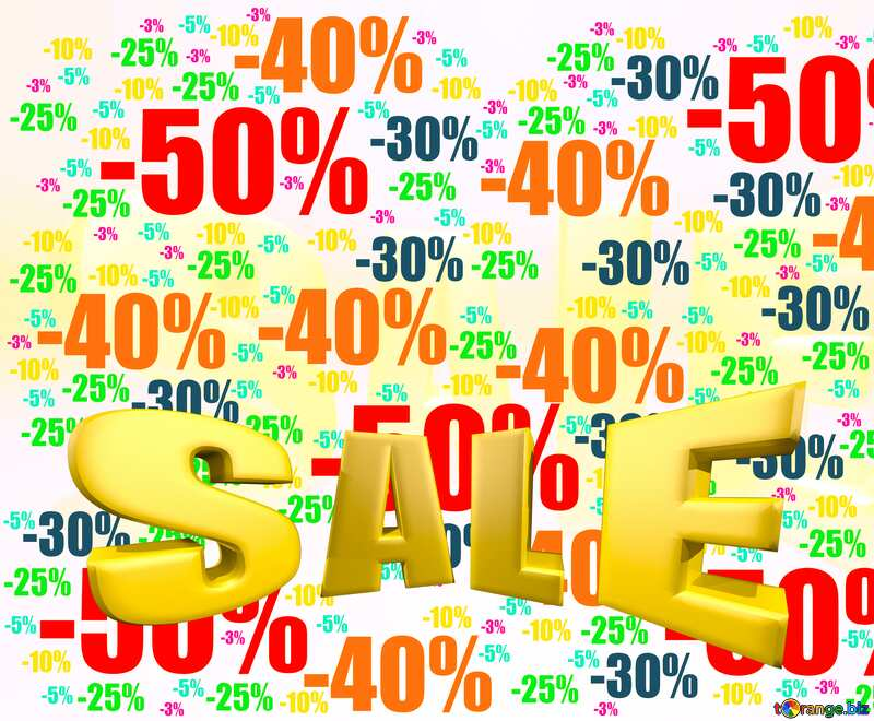 Sales promotion 3d Gold letters sale Template Background yellow №51545