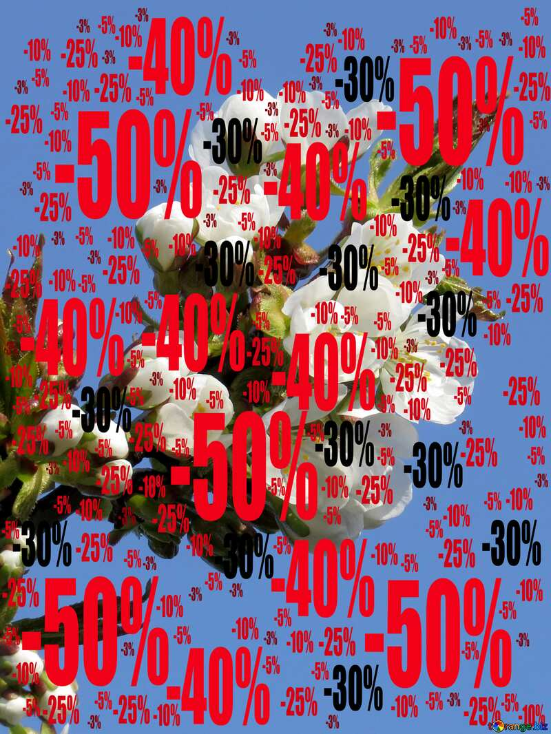 Flowers Trees Sale offer discount template spring Background №24405