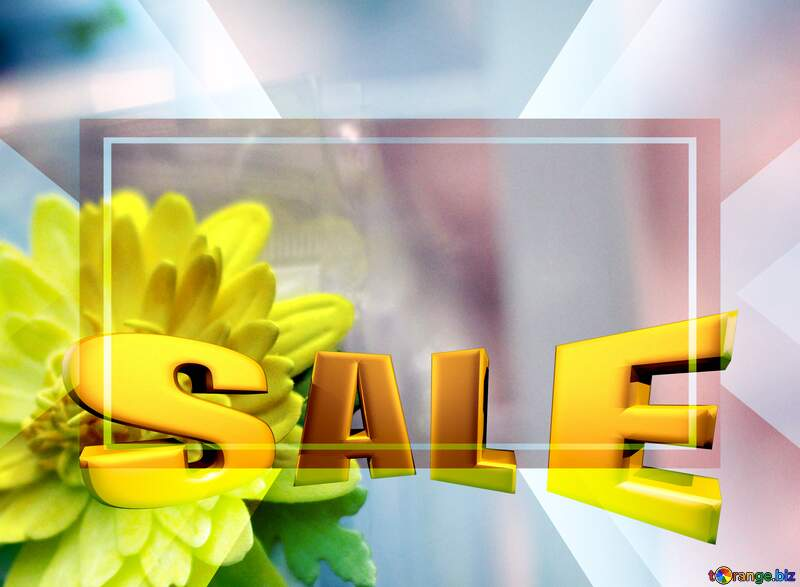 Sales promotion 3d Gold letters sale background Yellow Flower Template Frame №48635