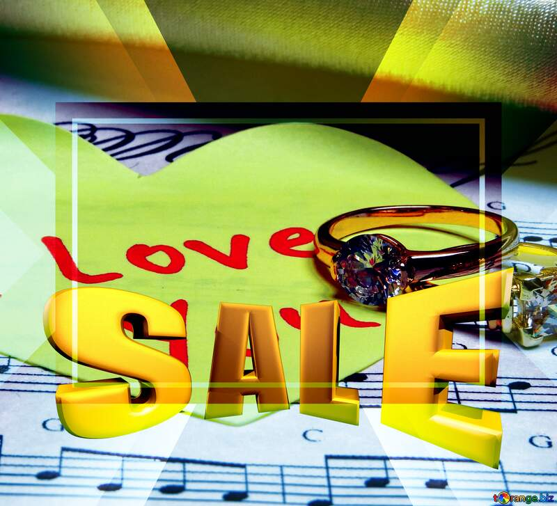 Music love card Serenade Template Banner Design Sales promotion 3d Gold letters sale background №18220