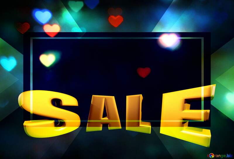 The lights in the shape of hearts Sales promotion 3d Gold letters sale background №37858