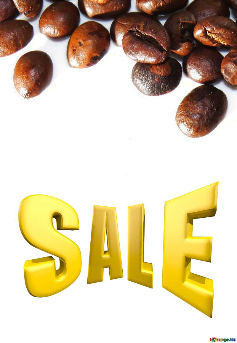 Frame of coffee beans on white background Sales promotion 3d Gold letters sale background №32291