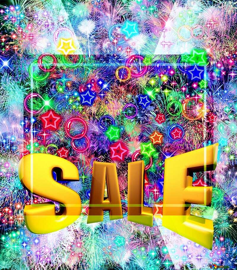 Celebratory bright background Sales promotion 3d Gold letters sale background Template №39955