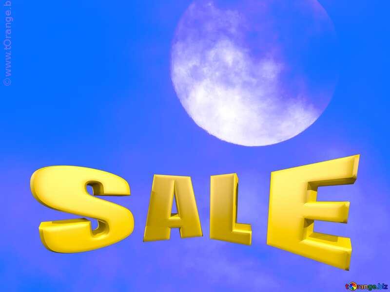 Sales promotion 3d Gold letters sale background Moon Blue №31497
