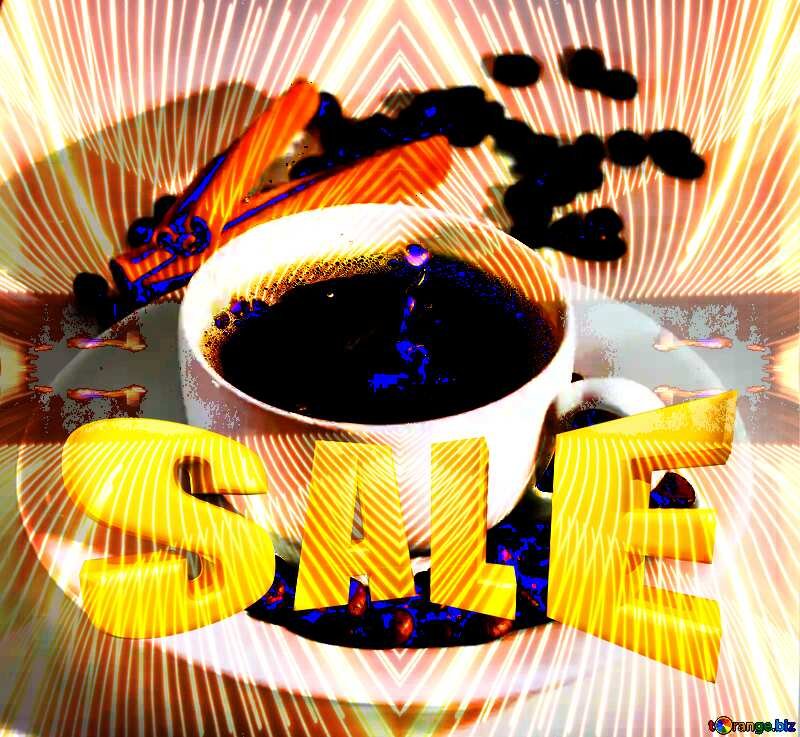Cup of coffee Sales promotion 3d Gold letters sale background Curves Pattern Template №30851