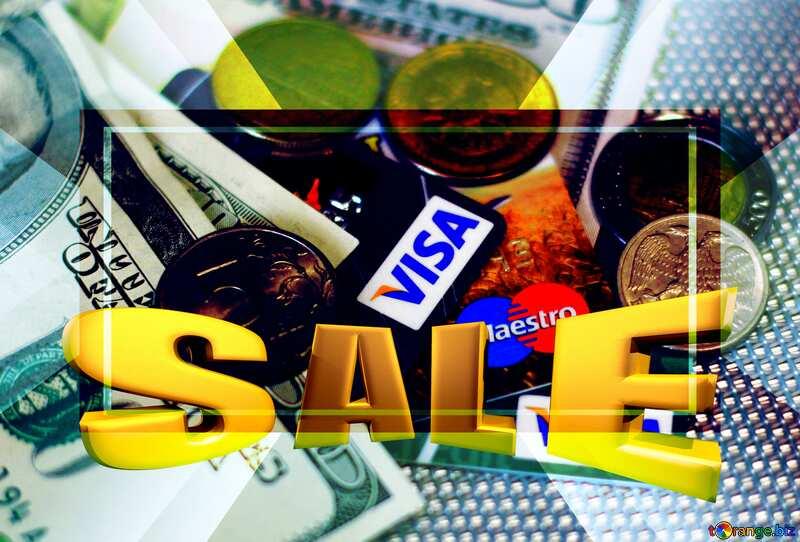 Sales promotion 3d Gold letters sale background Visa Money Template №32372