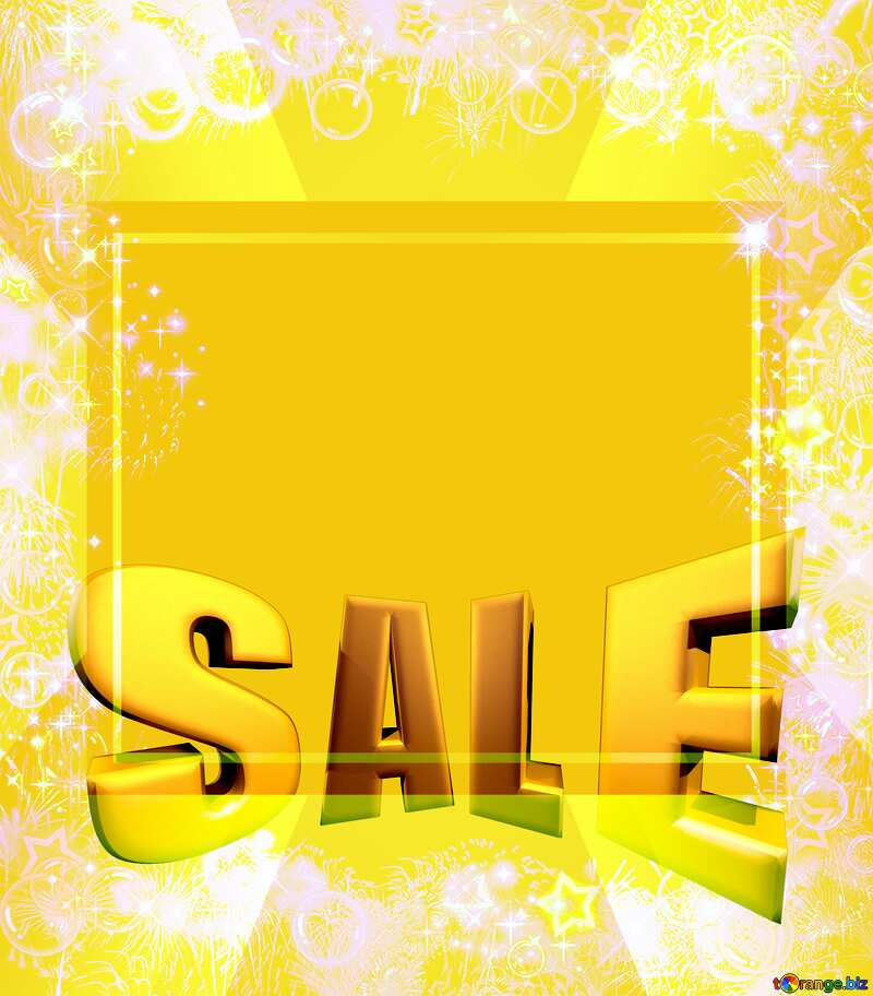 Sales promotion 3d Gold letters sale background Yellow Template Frame №39964