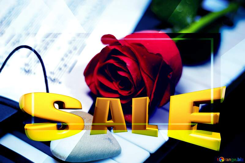 Discount promotion picture template Rose Heart Music №7200