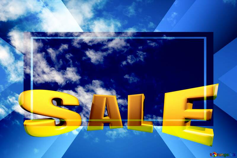 Beautiful clouds in the blue sky Sales promotion 3d Gold letters sale background №39273