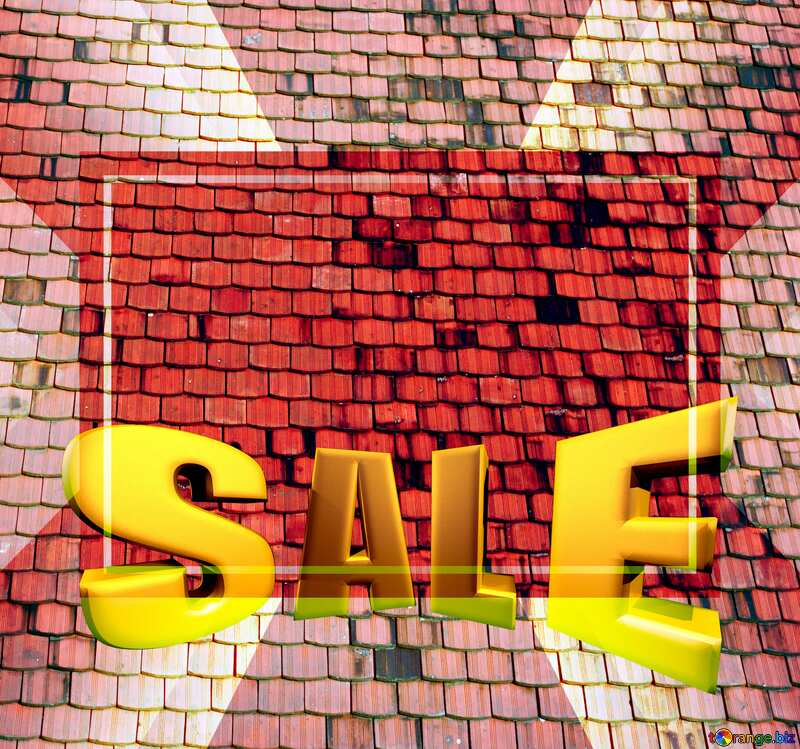 The texture of the old shingles Sales promotion 3d Gold letters sale background №31761