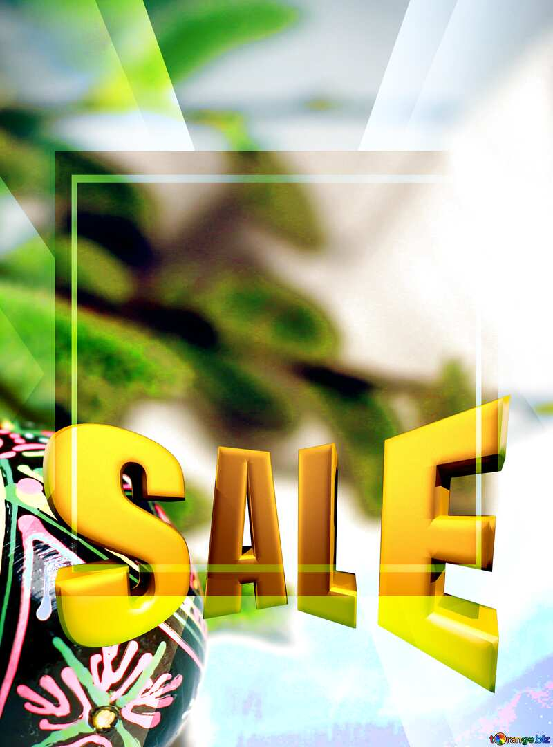 Twigs of willow and easter eggs Sales promotion 3d Gold letters sale background №29564