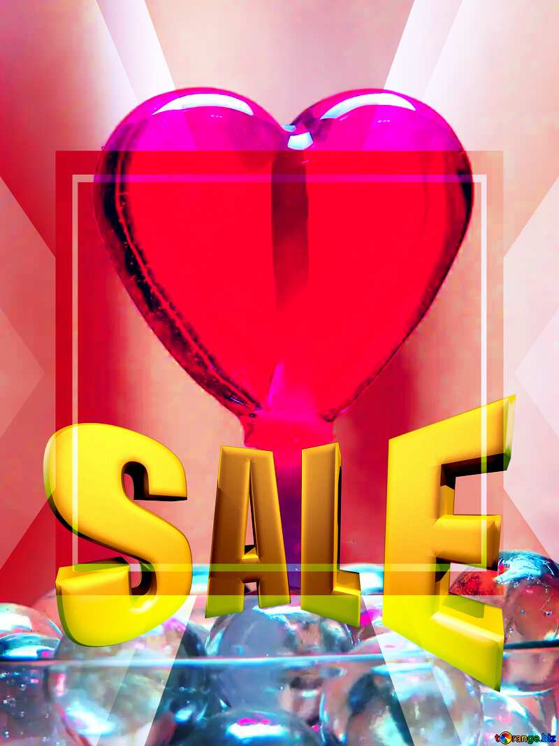Candy in the shape of heart Sales promotion 3d Gold letters sale background Template №17437