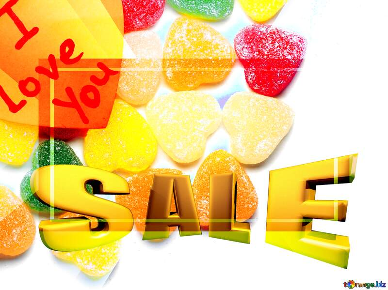 Background I love you in candy Sales promotion 3d Gold letters sale background Template №18767