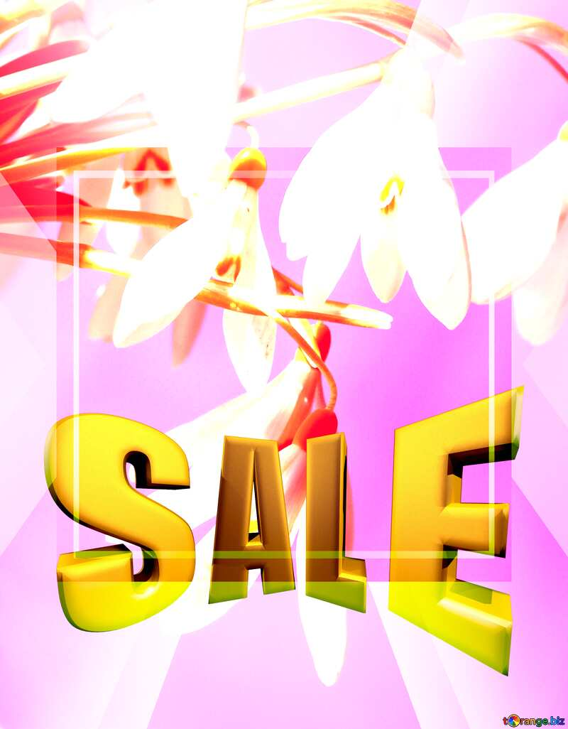 Early spring background Sales promotion 3d Gold letters sale №38347