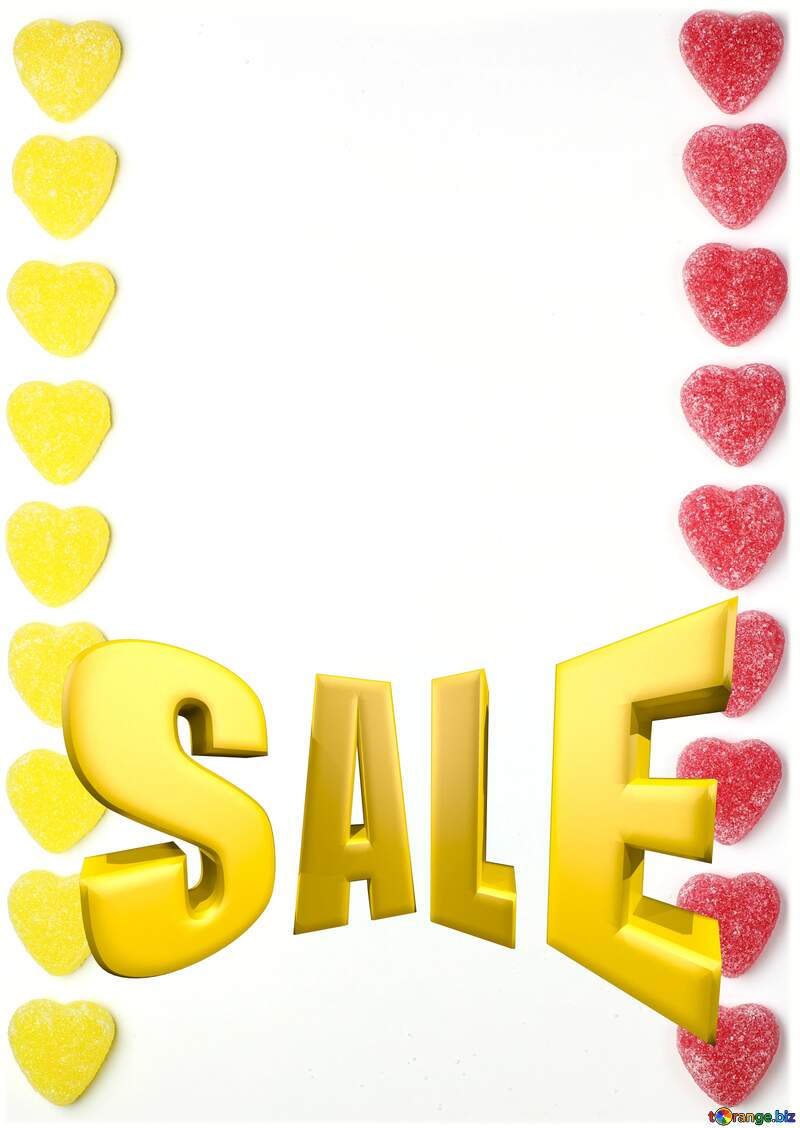Background strip hearts Sales promotion 3d Gold letters sale №18771