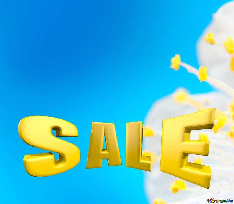 Spring flower blue Sales promotion 3d Gold letters sale background №29889
