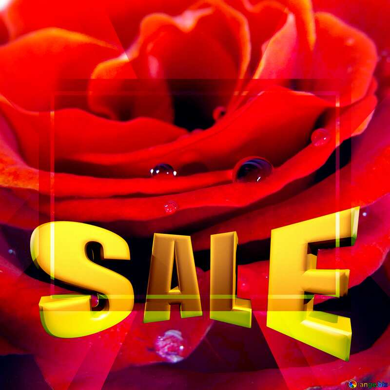 A rose with drops Sales promotion 3d Gold letters sale background №17124