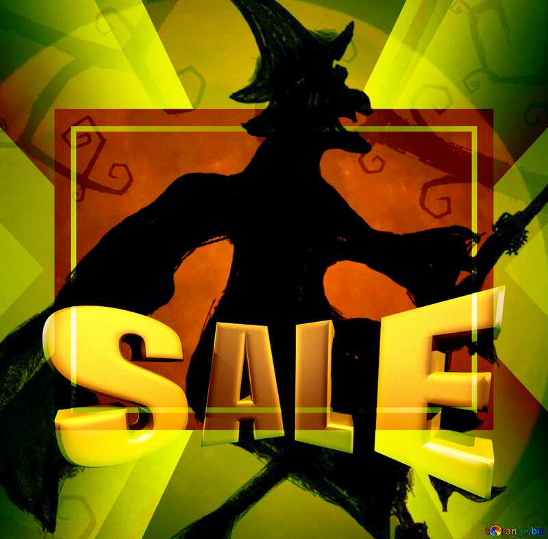 Sales promotion 3d Gold letters sale background Halloween Flying Witch Template №40587