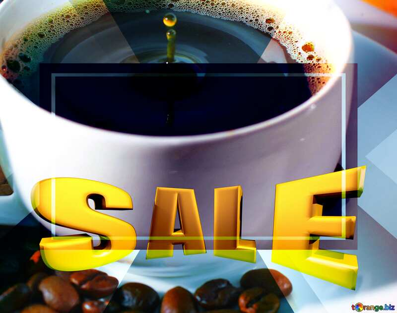 A drop of coffee Sales promotion 3d Gold letters sale background Template №30848
