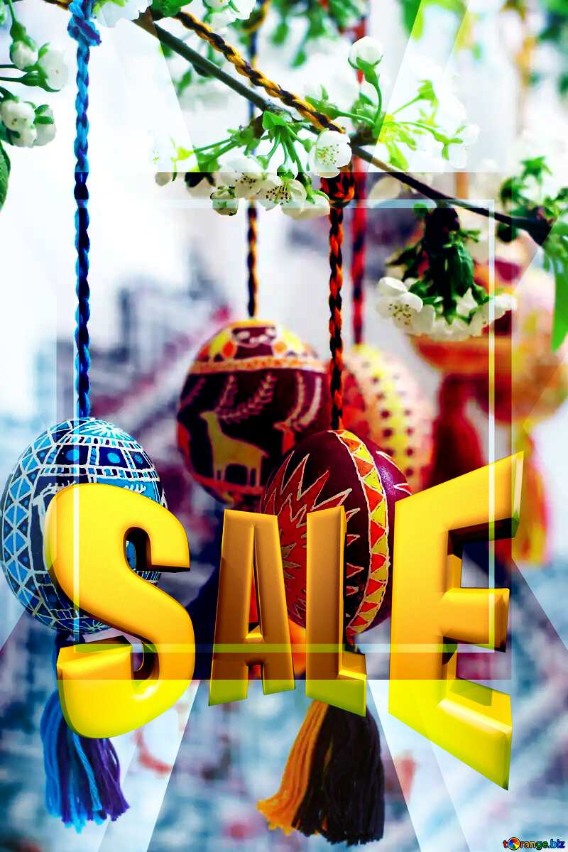 Easter eggs hanging on tree Sales promotion 3d Gold letters sale background Template №30223