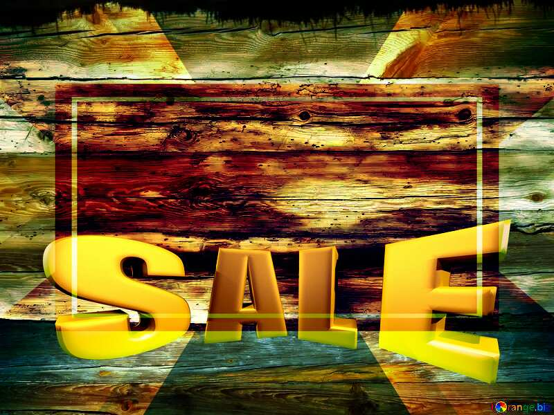 Texture of old wood Sales promotion 3d Gold letters sale background Template №28600