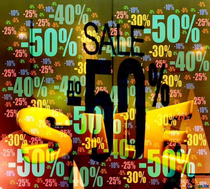 Huge discounts Sales promotion 3d Gold letters sale background 50% №16235