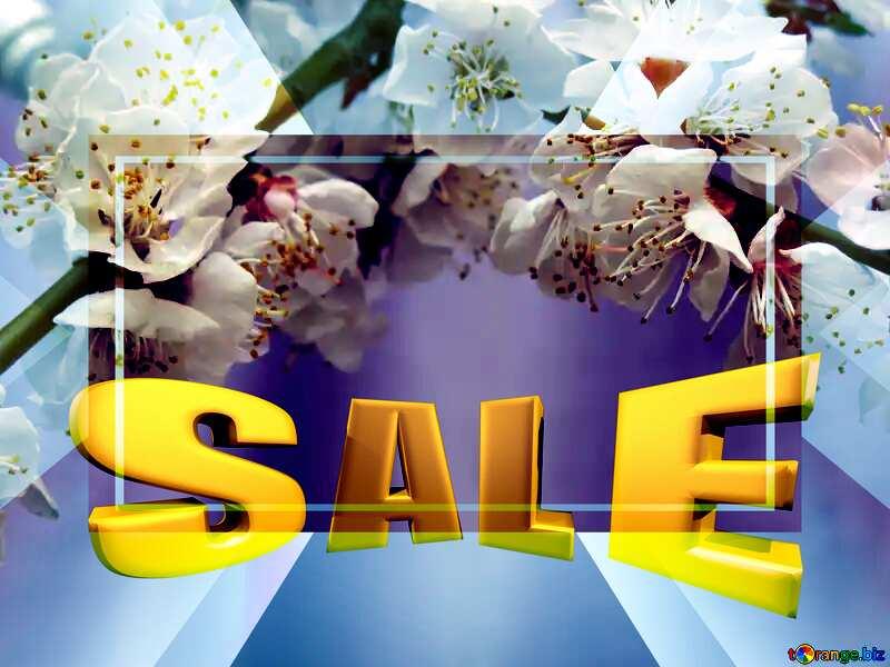 Spring blossoms Sales promotion 3d Gold letters sale background №30029