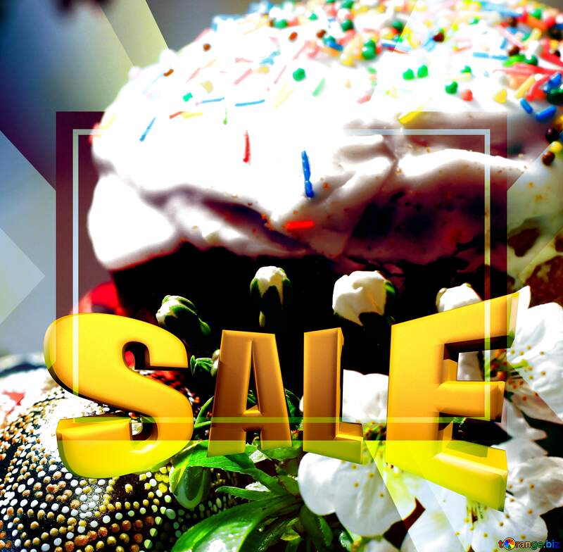 Easter picture Sales promotion 3d Gold letters sale background №30143