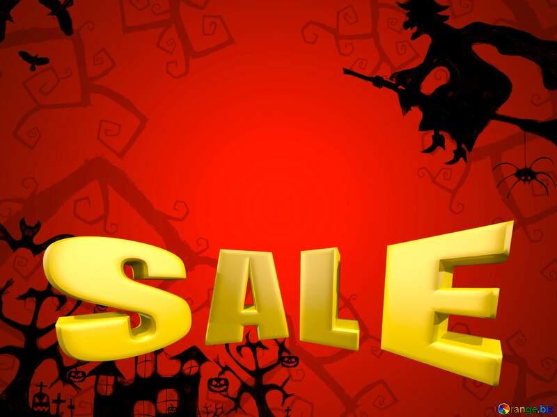 Halloween Sales promotion 3d Gold letters sale background №40580