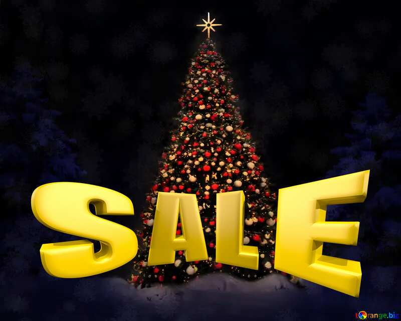 Christmas tree Winter Sales promotion 3d Gold letters sale background Snow №40739