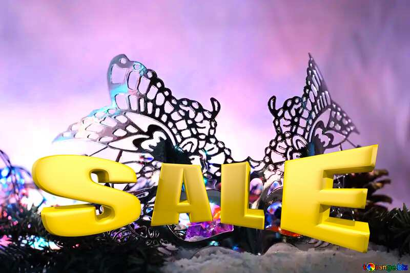 Masquerade ball Sales promotion 3d Gold letters sale background Template №17905