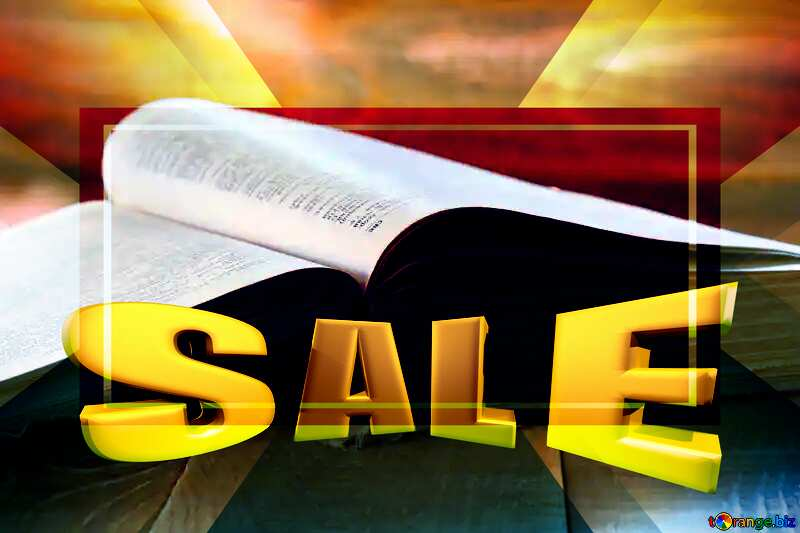 Open book Sales promotion 3d Gold letters sale background Template №33988