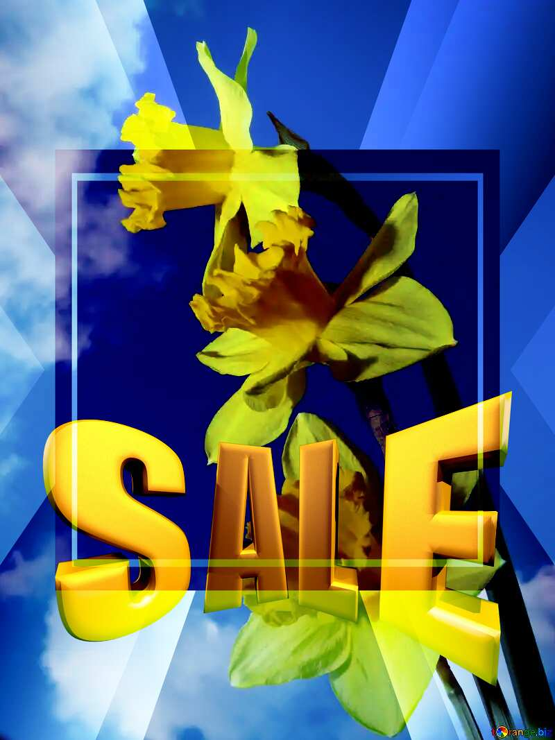 Spring bouquet Sales promotion 3d Gold letters sale background Template №30957