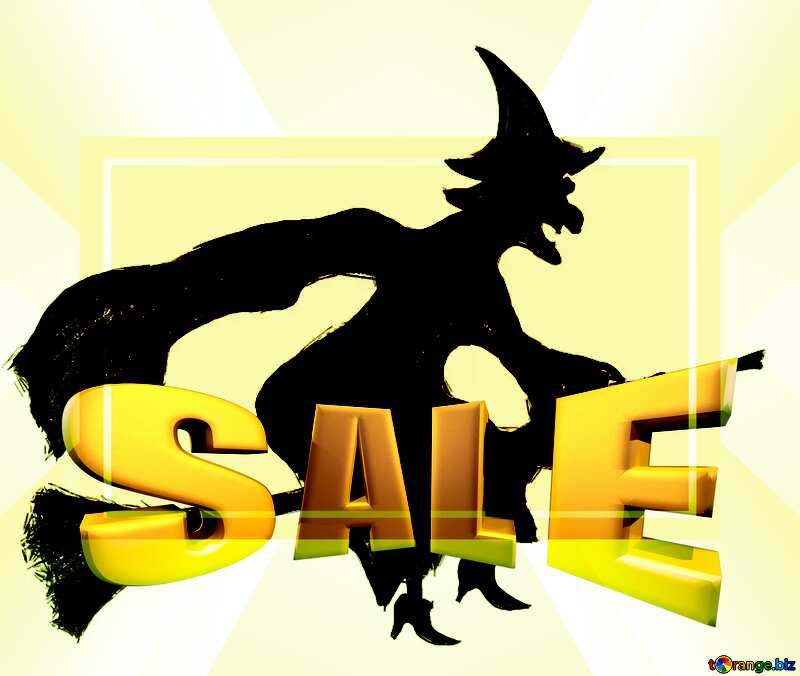 Halloween clipart witch Sales promotion 3d Gold letters sale background Template №40584
