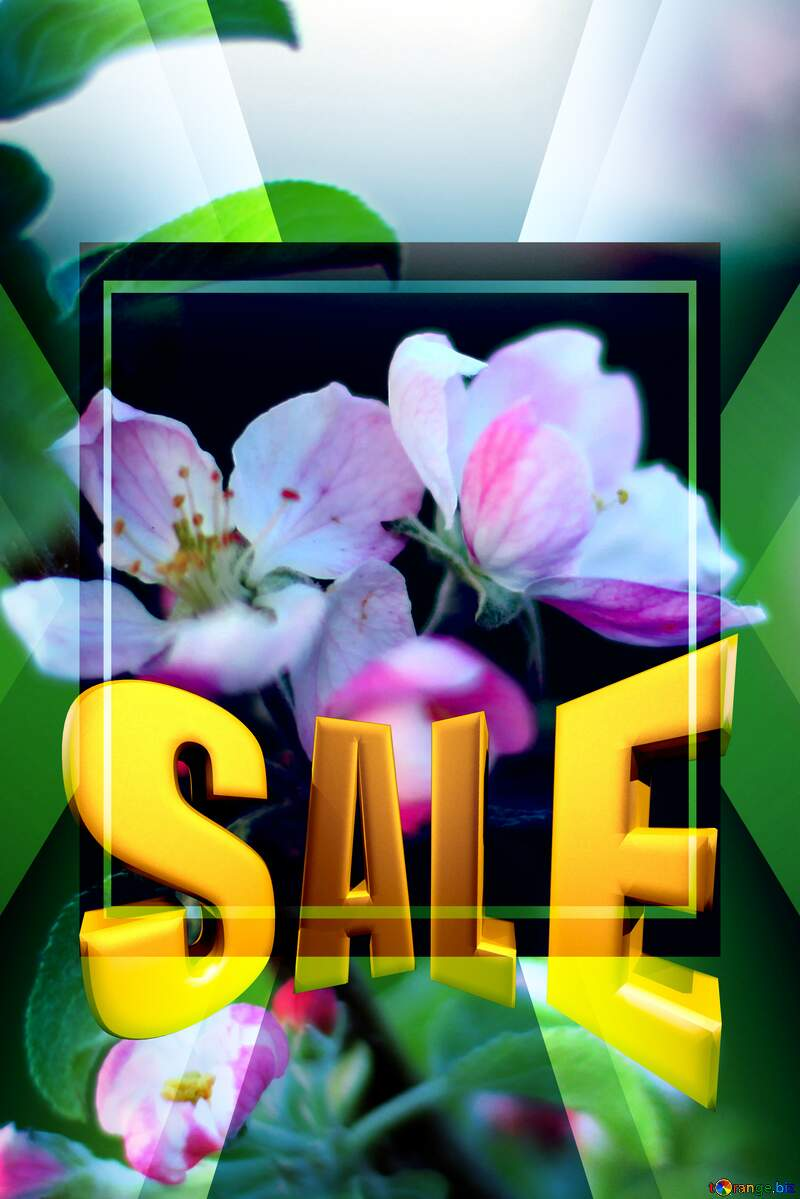 Macro flower Apple Sales promotion 3d Gold letters sale background Template №32432