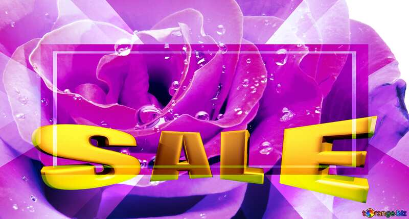 Rose flower white Sales promotion 3d Gold letters sale background Template №17097