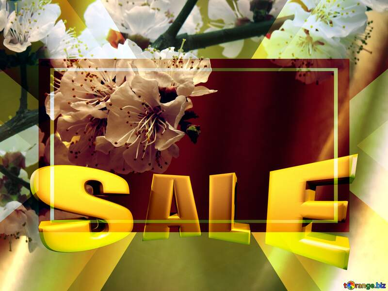 Spring flowering tree Sales promotion 3d Gold letters sale background Template №29950