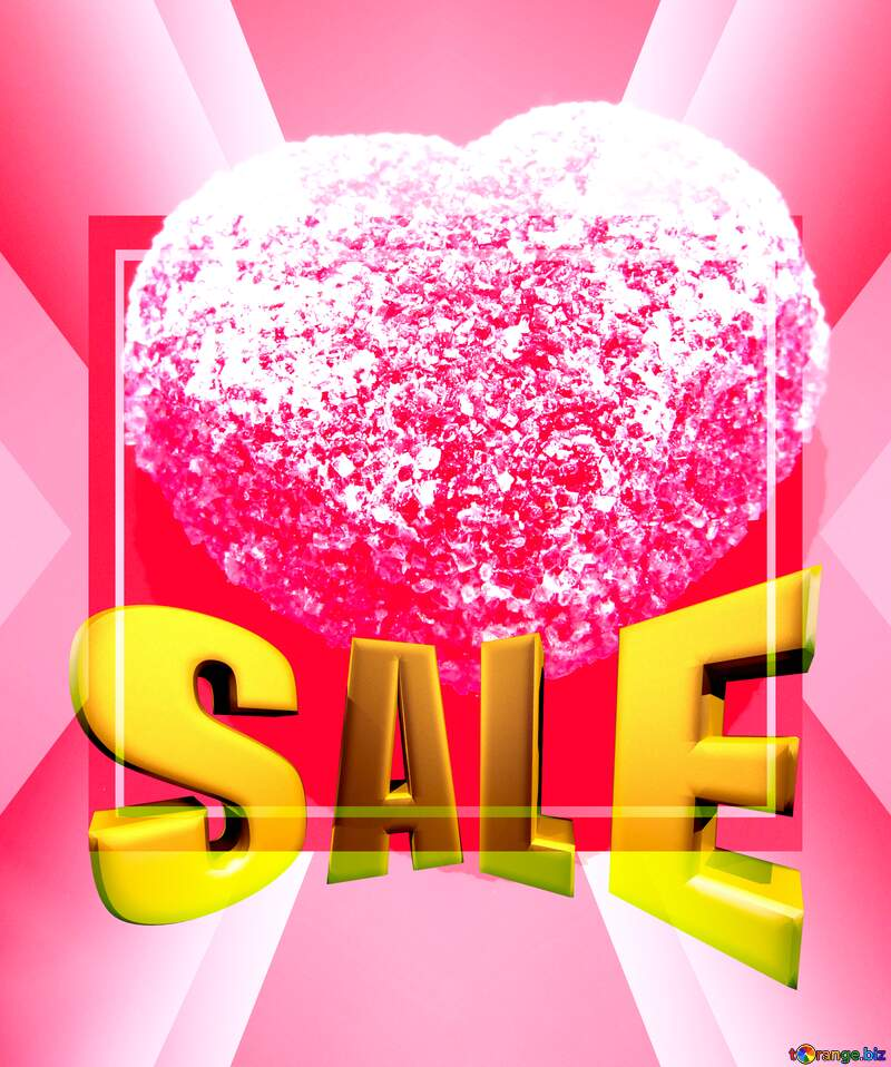 Red heart Sales promotion 3d Gold letters sale background Template №18523