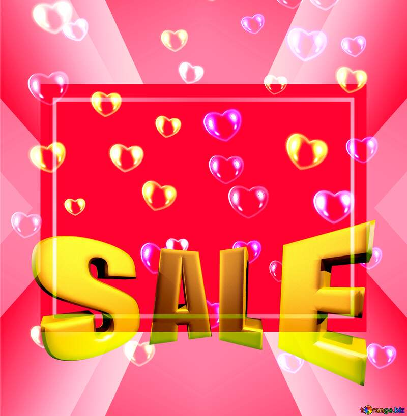 red hearts Sales promotion 3d Gold letters sale background Template №39946