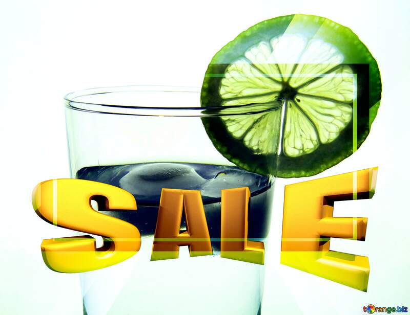 Water with lemon Sales promotion 3d Gold letters sale background Template №16131