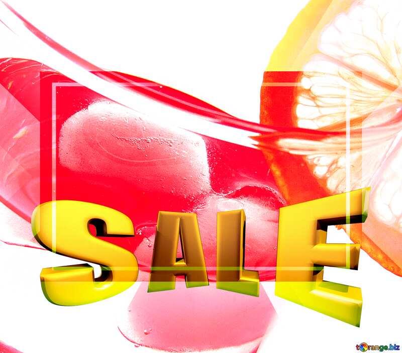 Cocktail with lemon Sales promotion 3d Gold letters sale background Template №16129