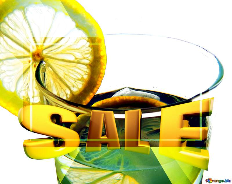 Water with lemon Sales promotion 3d Gold letters sale background Template №16124